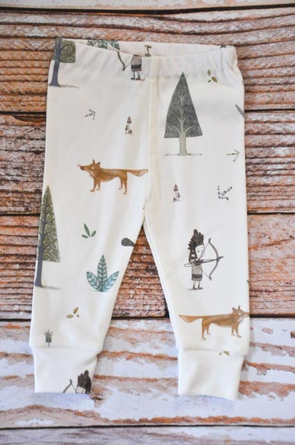 organic baby leggings, baby pants, baby leggins, toddler pants, organic toddler leggings, woodland, fox, indian, arrows, organic baby