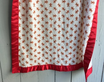 Christmas Blanket - Crib Sized Thermal Cotton Blanket with Satin Trim - Gingerbread Toss with Red Trim, Ready to Ship