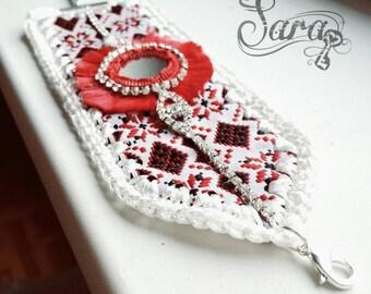 White cuff bracelet, Aztec bracelet, Wide bracelet, Boho cuff bracelet, Fabric cuff bracelet, Red white bracelet, Arm candy bracelet