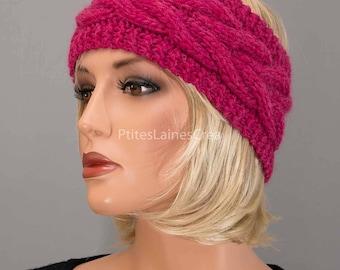 Hand knitted headband, ear-warmer, headband, alpaca-Merino, women