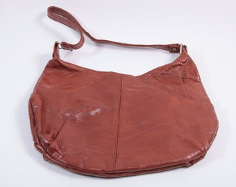 Brown Leather Vintage Purse, 1970's Boho, Slouchy, 1980's ~ Boom Thang ~ 160919