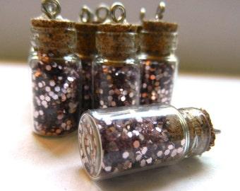 Glitter Filled Glass Vials - Pink Glitter Jars - Small Glass Bottle Pendants - Corked Jar Pendants - Dusty Rose Sparkle Bottles - Lot of 10