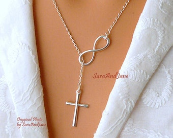 Infinity Cross Necklace - Sterling Silver Cross Infinity  Lariat - Faith Forever