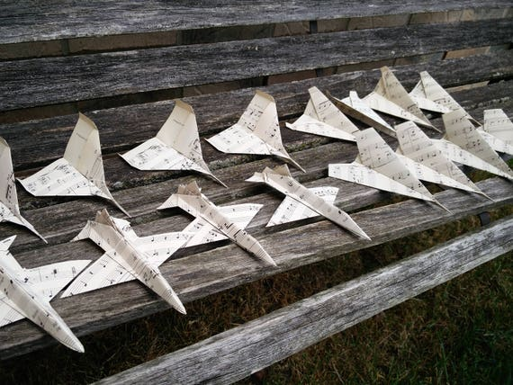 Sheet Music Paper Airplanes. CHOOSE YOUR PLANES. Escort Cards, Wedding Decoration, Party, Birthday, Notes