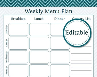 Weekly Menu Planner with Grocery List - Fillable - Printable PDF - Instant Download