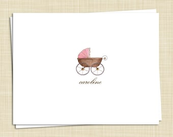 10 Personalized Baby Thank You Cards - Girl Boy Gender Neutral - Baby Carriage - PRINTED