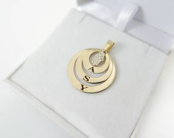 14k solid gold name necklace. Initials Necklace.   Personalized necklace. Monogram jewelry. Gold coin necklace. Monogram