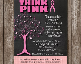 Think Pink// Breast Cancer Fundraiser//Support Party Invitation//Race for the Cure//Digital file