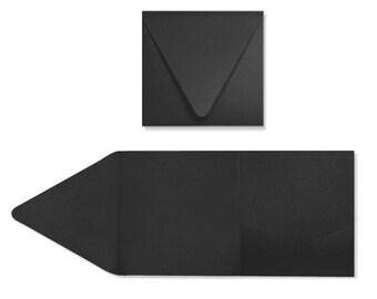 6 x 6 Pocketfold Invitations - Midnight Black (10 Qty.)