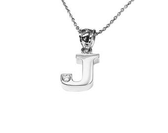 SNP07cz Silver One Initial Name Necklace with a Cubic Zirconia