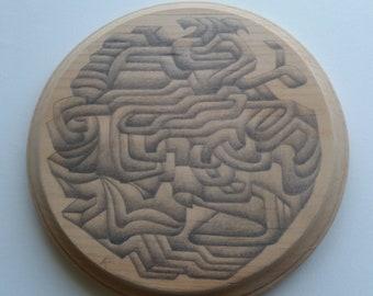 Original graphite drawing on wood plaque