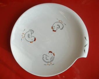 """Plate decorated with """"Three hens"""" porcelain plate hand painted plate, round plate, tableware"""