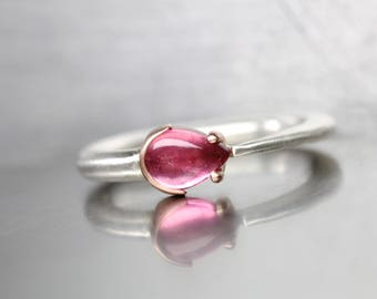 Bright Pink Tourmaline Teardrop Ring Silver 14K Rose Gold Natural Pear Shaped Cabochon Fun Gift Idea For Her October Birthstone - Candy Drop