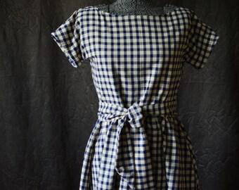 Dress / Day Dress / 1950's dress /  Summer Dress / Retro Dress / Vintage Dress / Long Dress / Checked Dress / Short Sleeve Dress