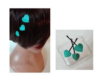 blue heart hair clip, barrette kids wedding ceremony, fascinator, hair comb women Hat