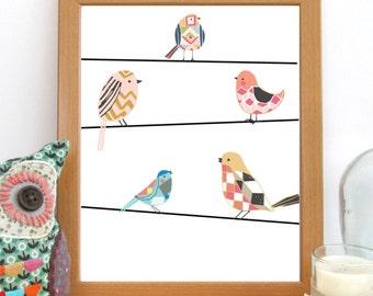 Bird Nursery Art, Printable Wall Art, Cute Bird Print, Nursery Decor, Birds On Wire Print, Bird Decor