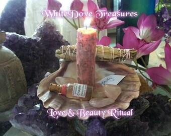 Auto aime la méditation ~ Venus Vision huile & bougie Love Kit ~ Yoga amour ensemble ~ bio à base de plantes chargé bougie ~ pierres de Quartz Rose ~ boîte-cadeau