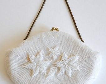 Vintage White Beaded Purse, White evening clutch, Beaded purse