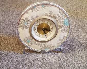 Vintage 1950s 1960s Bedroom Grace Clock in Silvertone and Blue boudoir