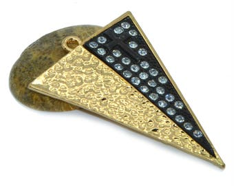 Large triangular pendant in gold and black rhinestones