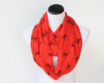 Red scarf Deer infinity scarf Christmas bright red black deer circle scarf, super soft loop scarf for woman and teen girls scarf