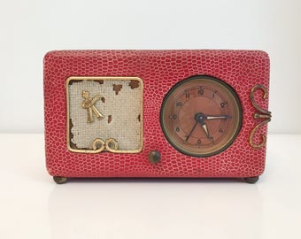 Red German music box clock  from 20s or 30s
