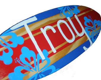 Surf Nursery Decor, Personalized Surfboard Wall Art, 18 inch Surf Board Sign, Nautical Beach Nursery Decor