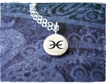 Silver Pisces Sign Necklace - Sterling Silver Pisces Charm on a Delicate Sterling Silver Cable Chain or Charm Only
