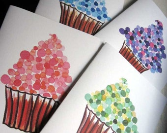 Greeting Card Set - Cupcake Cards - Watercolor Art Notecards (Ed. 4), Set of 12