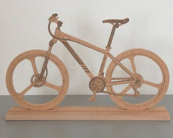 1 bicycle, bike on wooden MDF holder to decorate L 33 cm H x 21 cm