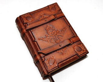 FREE SHIPPING leather journal, Book of Solomon, Medieval style, Book of Dead, Wiccan notebook, Aged paper, Book of spells, necronomicon book
