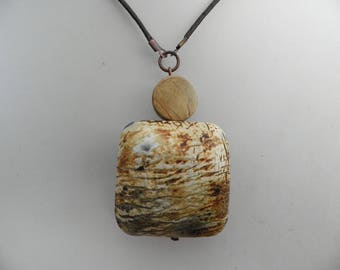 Large square Horn pendant necklace