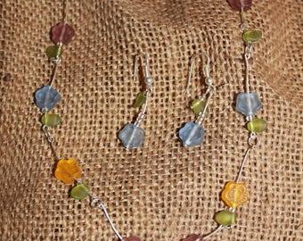 set necklace earrings flowers