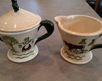 Metlox Homestead-Provincial Creamer and Sugar with lid