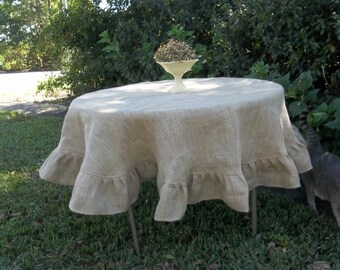 Custom Round Burlap Tablecloth Ruffled Tablecloth Custom Colors Wedding Decorations Table Decor French Country Farmhouse Ruffled Burlap