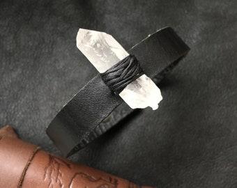 MEDIUM: Clear Quartz Crystal Leather Bracelet
