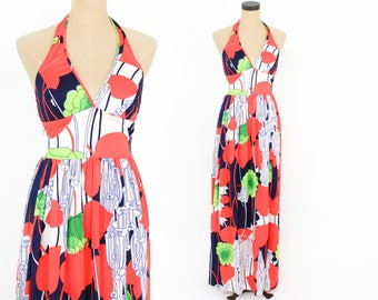 70s Halter Maxi Dress | Floral Op Art Print Dress | Swim Dress | Cole of California | Small