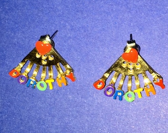 "Vintage Pair of Gold Tone Metal and Rainbow Colored Enamel ""Dorothy"" Name Earrings."