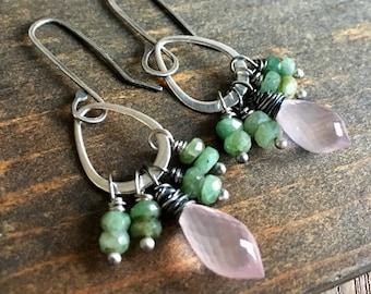 Emerald & Rose Quartz Hoop Earrings, Sterling Silver Gemstone Earrings, Handmade in Alaska, Gift for Her, Gift for Mom, Gift for Wife