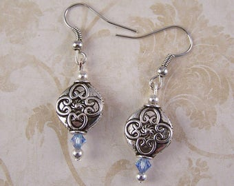 Silver Earrings, Blue Crystal Earrings, Small dainty Earrings, Silver Jewelry, Birthday Gifts for Her Women Mother, Sister, Daughter, Friend