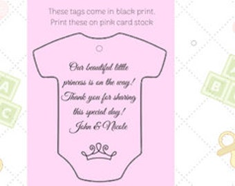 Baby Shower/Gender Reveal Thank You Favor Tags