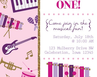 Musical Theme Birthday Party Invite - DIGITAL FILE ONLY