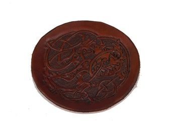 Medieval dragon  brown leather embossed and carved piece applique larp reenactment sca armour armor game of thrones viking warcraft costume