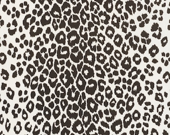 Schumacher OUTDOOR Iconic Leopard in Graphite Designer Pillow Cover With or Without Piping - Square, Lumbar and Euro Sizes