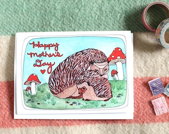 Mother's Day Card - Hedgehog Mother's Day Card - Blank Mother's Day Card - Greeting Card - Card for Mom - Gift for Mom - Hedgehog Mom's Day