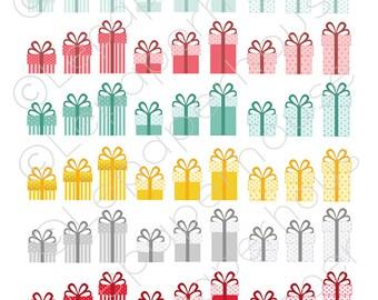 Christmas Presents Clipart Set, digital scrapbook elements - 72 Clip art, Instant Download
