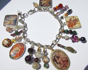 Fall Fairies Altered Art Charm Bracelet with Genuine Gemstones & Glass Beads