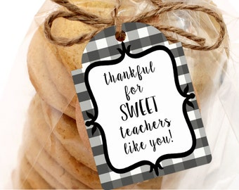 Printable Thankful for SWEET Teachers Gift Tags, Printable Gift Tags, Teacher Appreciation Gift Tags by SUNSHINETULIPDESIGN