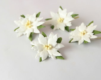 50 pcs - White medium poinsettia flowers / handmade muberry paper flowers / wholesale pack