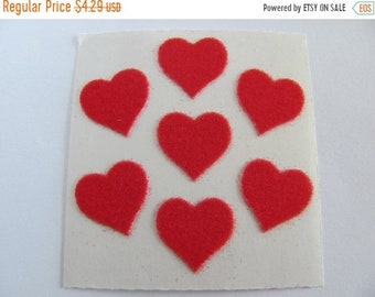 SALE Vintage Sandylion Fuzzy Red Hearts Sticker Mod - 80's Scarlet Heart